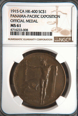 1915 Panama Pacific Expo Official Medal, SH 18-1, HK-400, MS61 NGC, PPIE Token