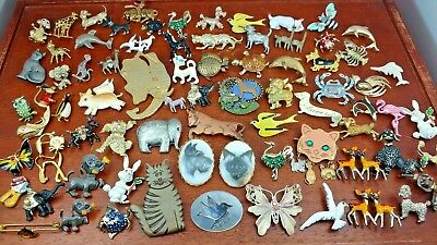 Vintage Costume Jewelry Lot Brooches All Animals 76 Pieces Usable Or For Resale