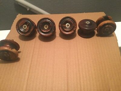 6 x Antique Vintage  Wooden Drawer  Knobs