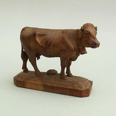 Vintage Hand Carved Black Forest Wooden Cow ~ 10 cm long ~ Farm Animal Figure