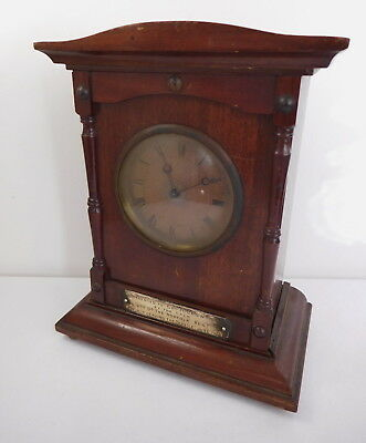 Wood Mantel Clock Swiss Made Movement Presented To H Crowther Norfolk Reg 1925