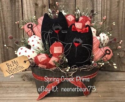 Primitive Prim Hand Made Spring Valentine Kitty Cat Hearts Decoration