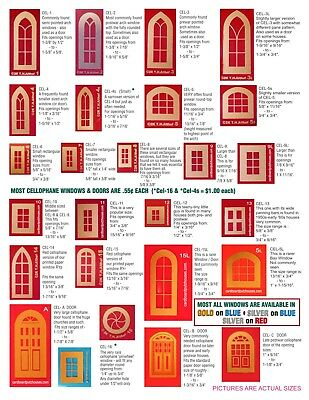 Cardboard Christmas Putz House Cellophane REPLACEMENT Doors & Windows Catalog