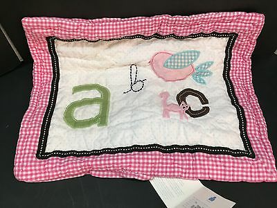Pottery Barn Kids ABC Animal Alphabet Pink Small QUILT_ed SHAM Toddler Crib NEW