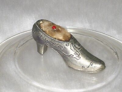 Vintage Victorian Style Shoe Pin Cushion Silver Metal Pewter Miniature Small