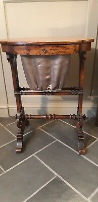 Very delicate walnut victorian sewing, craft, knitting table with silk bag