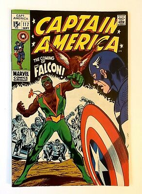 Captain America #117 BEAUTIFUL UNRESTORED High Grade WHITE pages 1st App Falcon