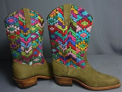 Handcrafted Cowboy Boots Created from Vintage Maya Woman's Vintage Huipil