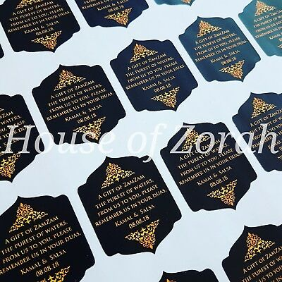 Personalised Luxury Black and Gold Party Wedding Favour Thank Zam Zam Stickers