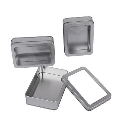 3 Pcs Blank Rectangle Metal Tin Containers with Clear Window Lid for Jewelry