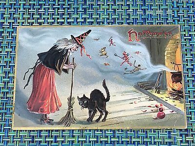 Raphael Tuck Series 150 Postcard Halloween ~WITCH, BLACK CAT DEVILS Postmarked