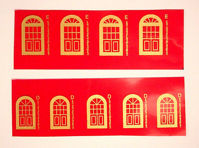 Cardboard Christmas Putz 1940's -1950's GOLD ON RED CELLOPHANE REPLACEMENT DOORS