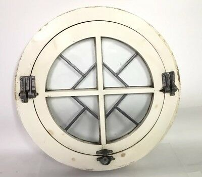 Reclaimed Salvaged Round Opening Window With Lead Pane Glass