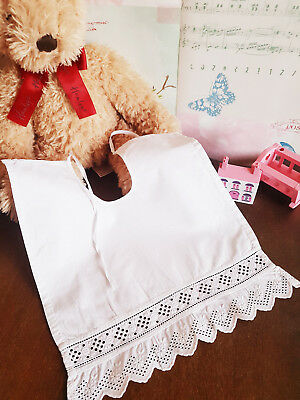 Vintage white baby bib with Broderie Anglais trim Christening outfit 10in x 11in