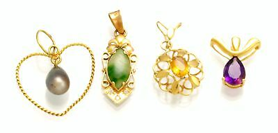 Lot of 4 Art Deco/Retro Ladies Drop Pendants of 18K Gold
