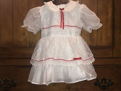 Vintage KANDY ANN White w/ Red Ribbon Party Dress Size 2T Sheer Lace Valentines