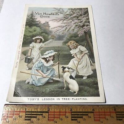 MY#5120D2 Vintage Advertising Card Van Houten's Cocoa Young Girls Dog Planting