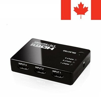 3-Port HDMI Switch Switcher Selector Splitter Hub Box 1080P For HDTV HD