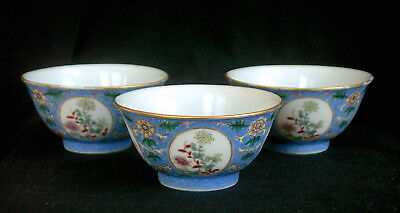 Antique Chinese Porcelain Wine Cups, Set of Three