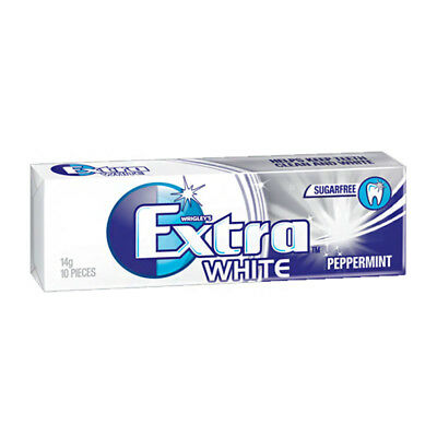 EXTRA PROFESSIONAL WHITE PEPPERMINT GUM SUGARFREE CHEWING GUM FRESH BREATH 14g