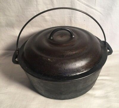 Vintage CRESCENT OZARK Foundry Cast Iron #8 DUTCH OVEN + Lid & Heat Ring