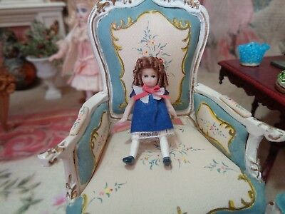Tiny Miniature dollhouse doll ~porcelain~ jointed~ 1 1/4""