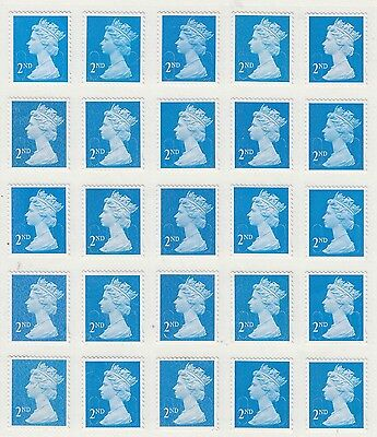 25 unfranked 2nd class stamps off paper with gum ( B ) FV £14.50