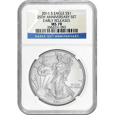 2011-S NGC MS70 Early Releases American Silver Eagle From 25th Anniversary Set