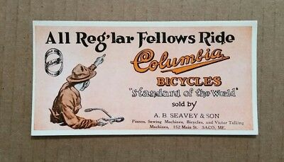 """Columbia Bicycles """"Standard of The World"""" Ink Blotter,1910's"""
