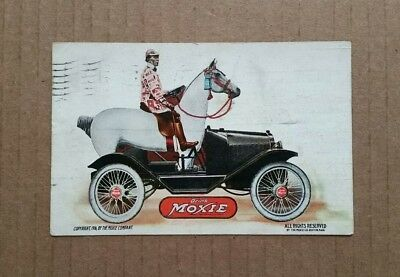 """Drink Moxie"" Motor Car & Horse Advertising Postcard,1917"