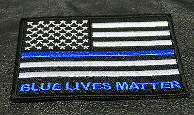 """THIN BLUE LINE POLICE SWAT EMBROIDERED PATCH 3 X 2 /"""" #P008"""