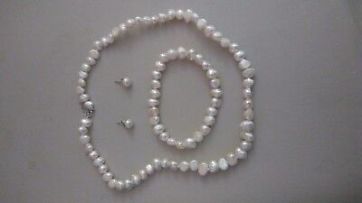 3 Piece Genuine Set Freshwater Pearls Necklace, Bracelet, and Earrings