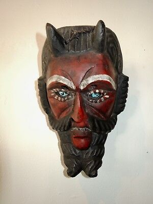 Finely Carved Vintage Guatamalan Devil Mask with Glass Eyes