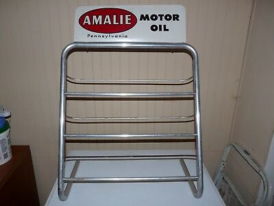 1960's Amalie Motor Oil Quart Can Counter Display Rack 15 Cans