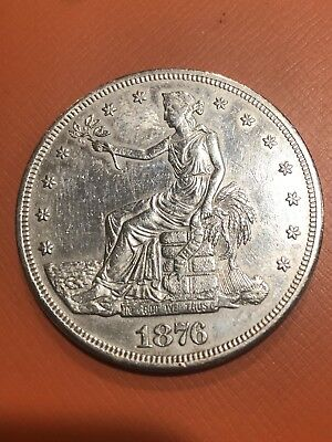 1876 S TRADE DOLLAR XF/AU Cleaned