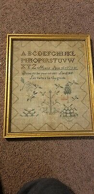 Antique Sampler Origin NJ or PA signed Mary Anne Abe year 1831
