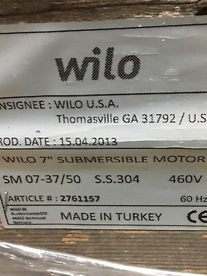 """WILO #2761157 7"""" X 6"""" 50 HP Submersible Motor W/ Matching WILO 400 GPM Pump NOS"""