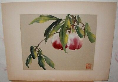 1950s? JAPANESE Orig WATER COLOR PAINTING~Nectarine Peaches in Tree~Signed