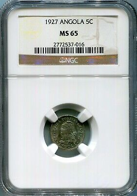 Angola - 1927 5 centavos KM#66 in NGC MS 65