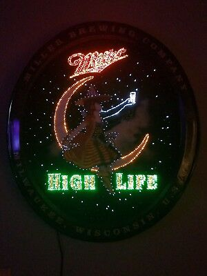 RARE Miller High Life Girl on Moon Fiber Optic Motion Beer Sign -budweiser brand