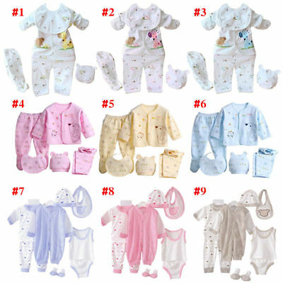 AU 5 Pcs Newborn Infant Baby Girl Boy Shirt +Pants +Hat+Bid Set Outfits Clothes