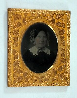 Antique 6th Plate Double Ambrotypes In Signed Thermoplastic Case W Fancy Matts