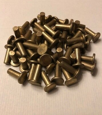 3/16 X 1/2 Flat Head Solid Brass Rivet Antique Blacksmith 3/8 Head (100 Pcs)