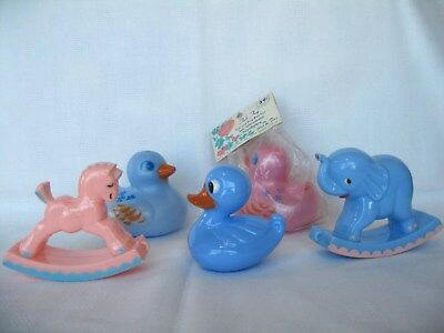 Vintage Knickerbocker Plastic Baby Rattles HORSE & ELEPHANT & DUCKS Bath Tub Toy