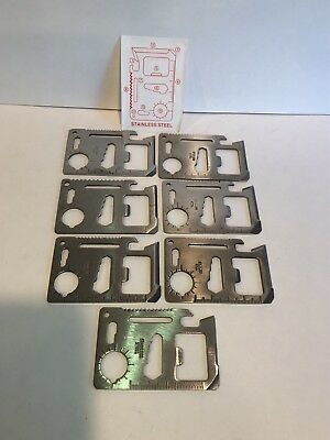 Credit Card Survival Tool Lot of 7 with 11 functions 1 instruction card