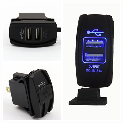 Waterproof DC 12-24V 3.1A Dual USB Car Auto Power Supply Charger Port Socket FT