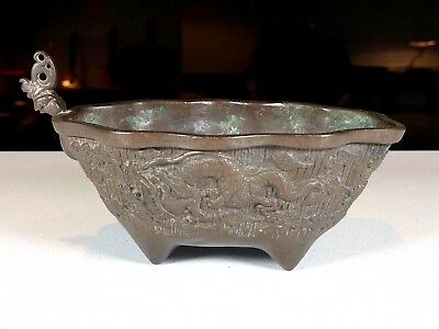 Antique Japanese or Chinese Bronze Censer with Dragons, Signed with Makers Mark