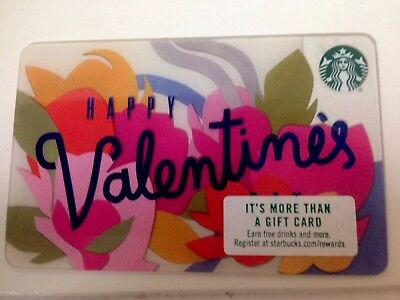 New 2017 Starbucks Gift Card Happy Valentine's Day Flower Floral Pink No Value