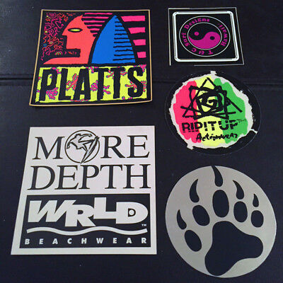vintage SURF sticker lot PLATTS TOWN & COUNTRY T&C Rip it Up surfing Hawaii