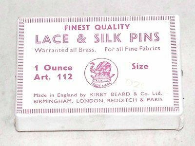 Unused and Full Box Vintage Kirby Beard Lace and Silk Pins Made in England